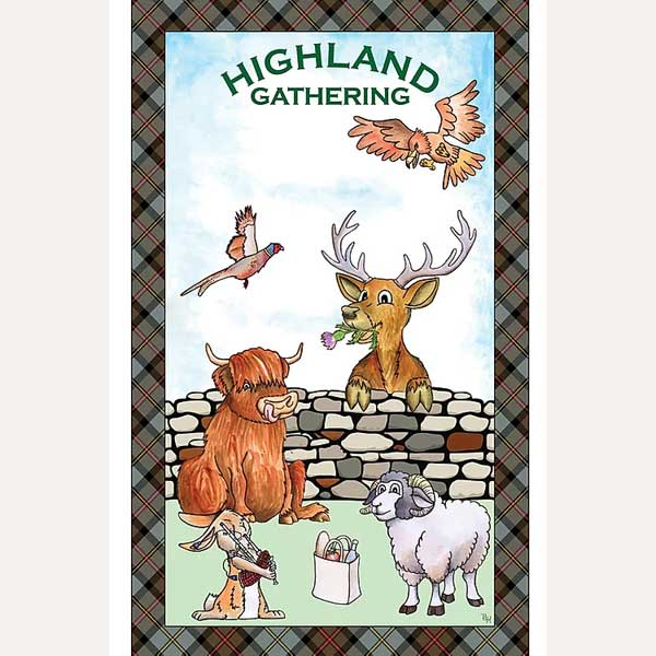 Highland Gathering tea towel