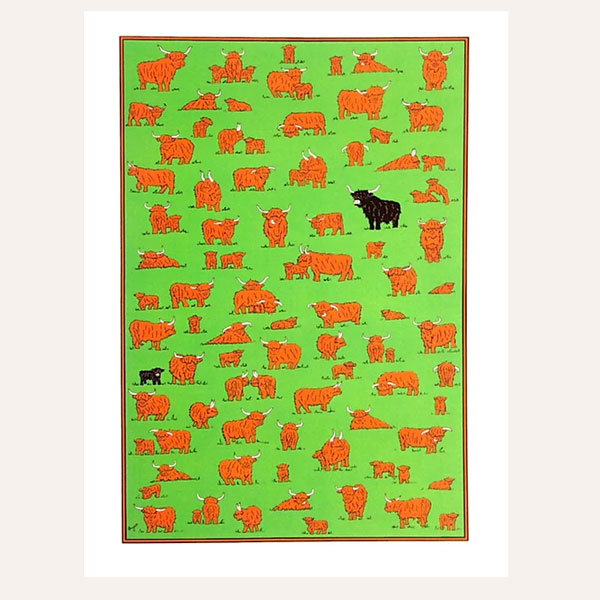 """Highland Herd"" Tea towel with highland cows"