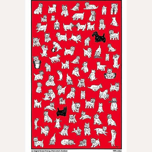 Highland Terriers tea towel