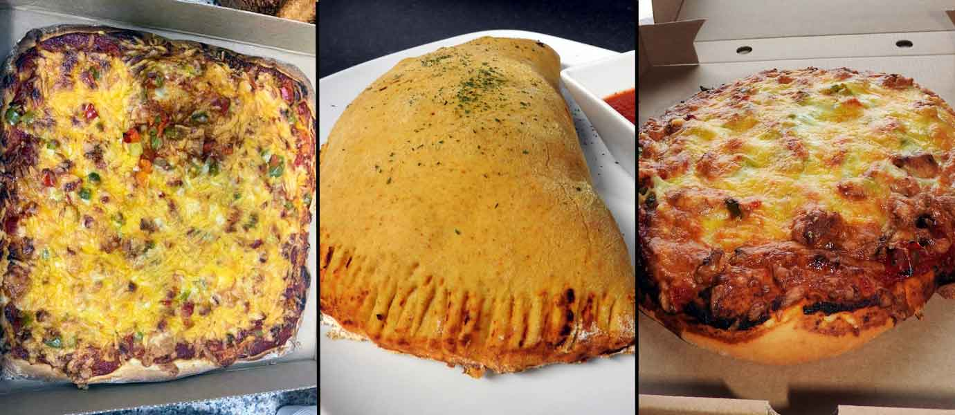 Square pizza, Calzone, Round pizza