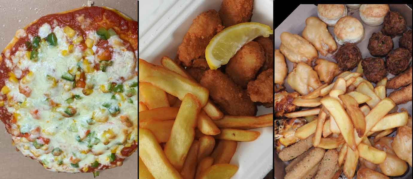 Pizza, Scampi, Munchie Box