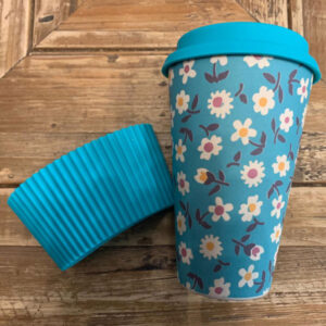 Reusable Cup Blue Flowers pattern