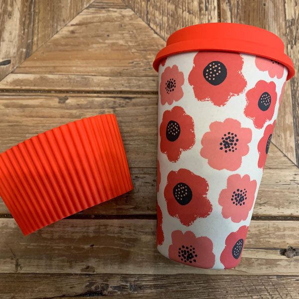 Reusable Cup Orange Flowers pattern