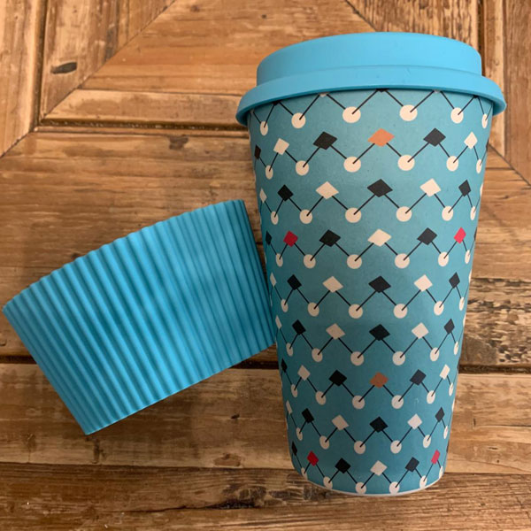 Reusable Cup Blue Geometry pattern